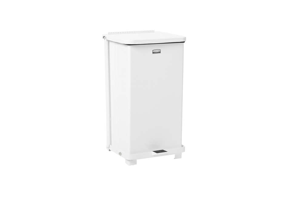 European-style trash cans from American company Rubbermaid are available on Amazon. We like the Rubbermaid Commercial Defenders Step Trash Can for the kitchen; $183.60. SeeDesign Sleuth: Stylish Trash Bins from an Unlikely Source.