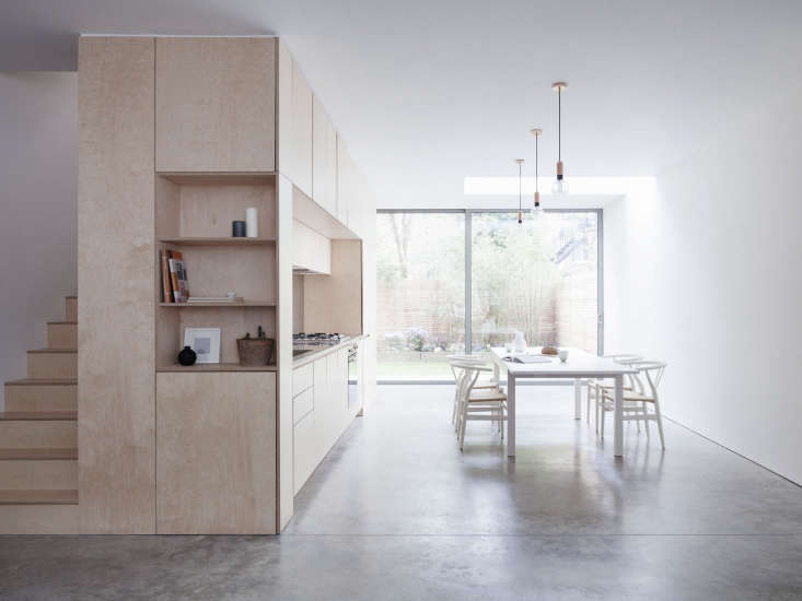 Birch Plywood Kitchen And Stairs Clean Lined London Victorian Townhouse Remodel Larissa Johnston