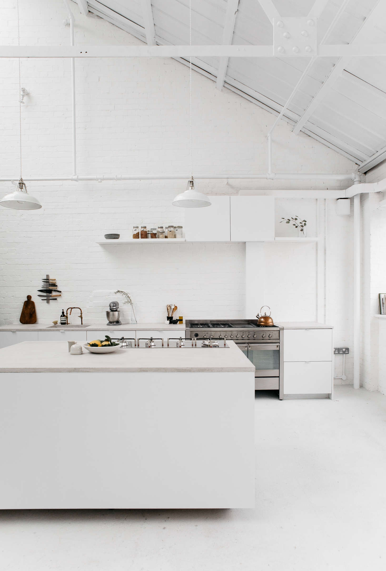A Guide To Concrete Kitchen Countertops Remodeling 101: Steal This Look: All-White Industrial Kitchen In London