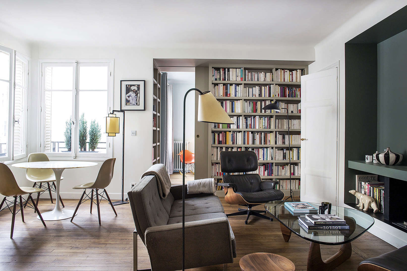 9 small space ideas to steal from a tiny paris apartment for Living room ideas apartment