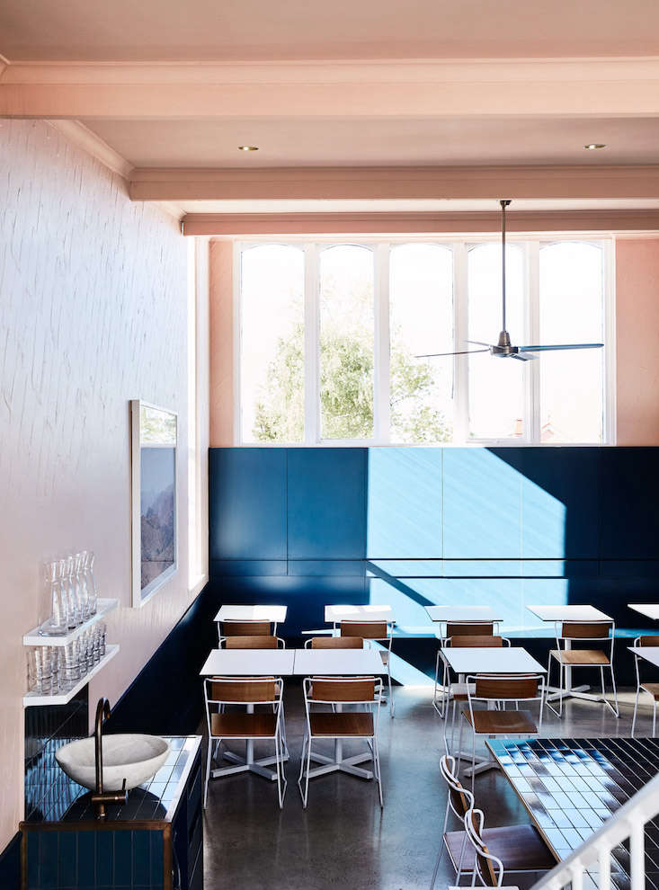 a melbourne restaurant with an au courant color palette - Blue Restaurant Design