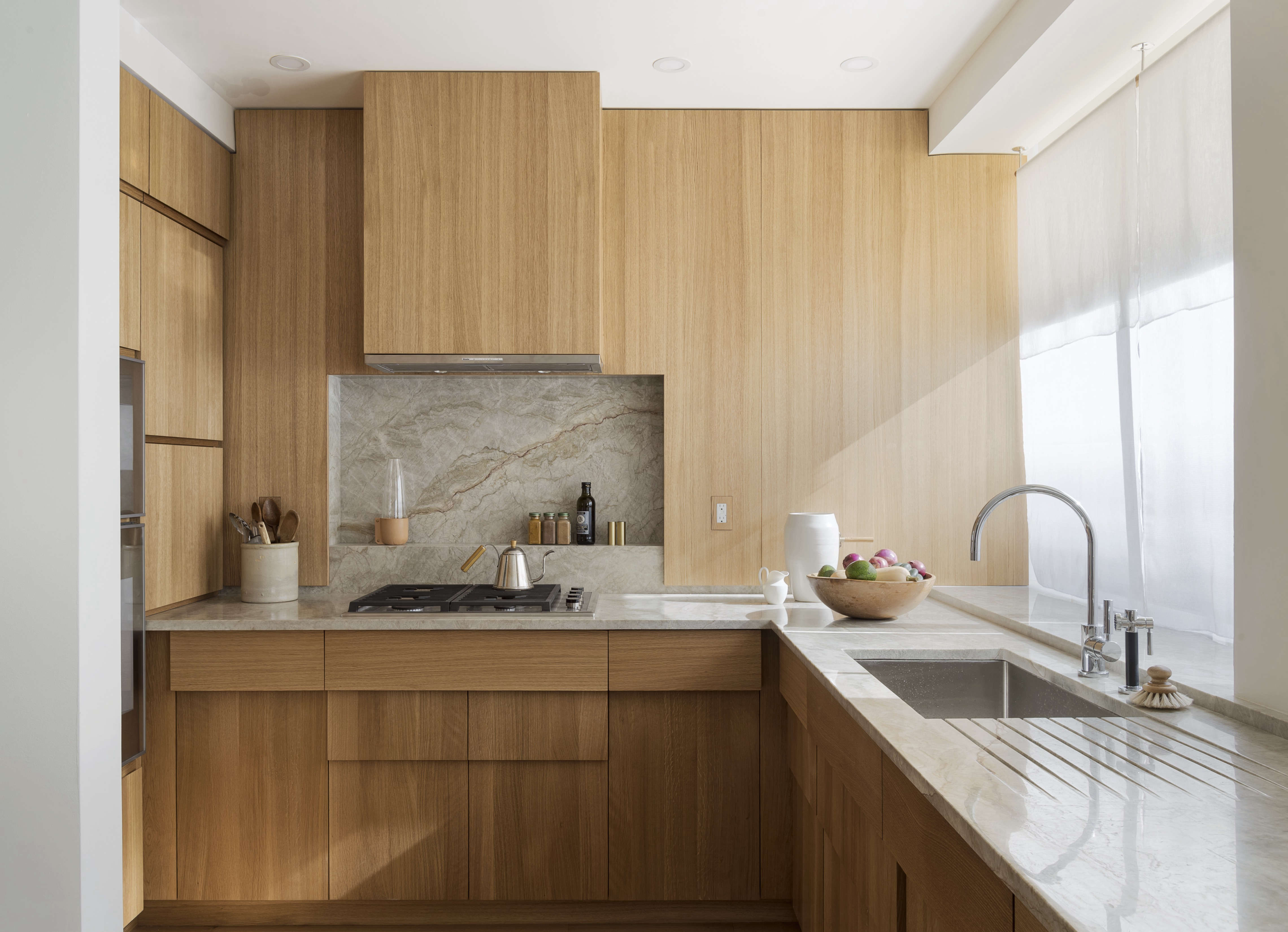 Stepped Oak Cabinets In A Compact Kitchen Remodel NYC By Workstead Design Matthew Williams