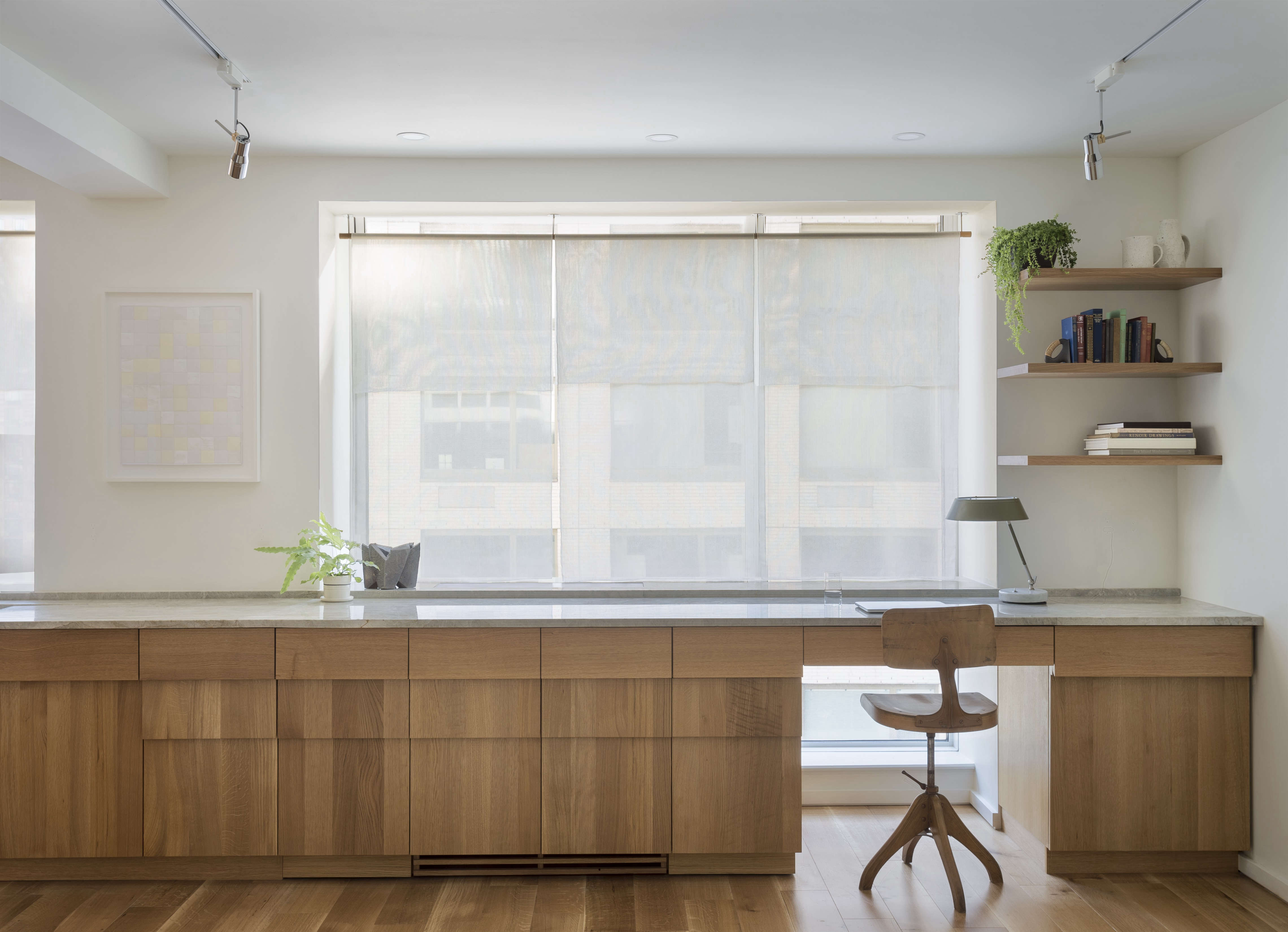 New York Apartment Home Office With Custom Stepped Oak Cabinets A Design By Workstead