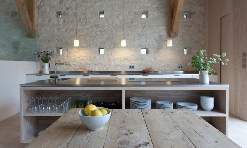 A Best Kitchen Finalist in the Remodelista  Considered Design Awards, this modern kitchen in a renovated farmhouse in southwest France was designed by David Rose Interior Architecture and Design.