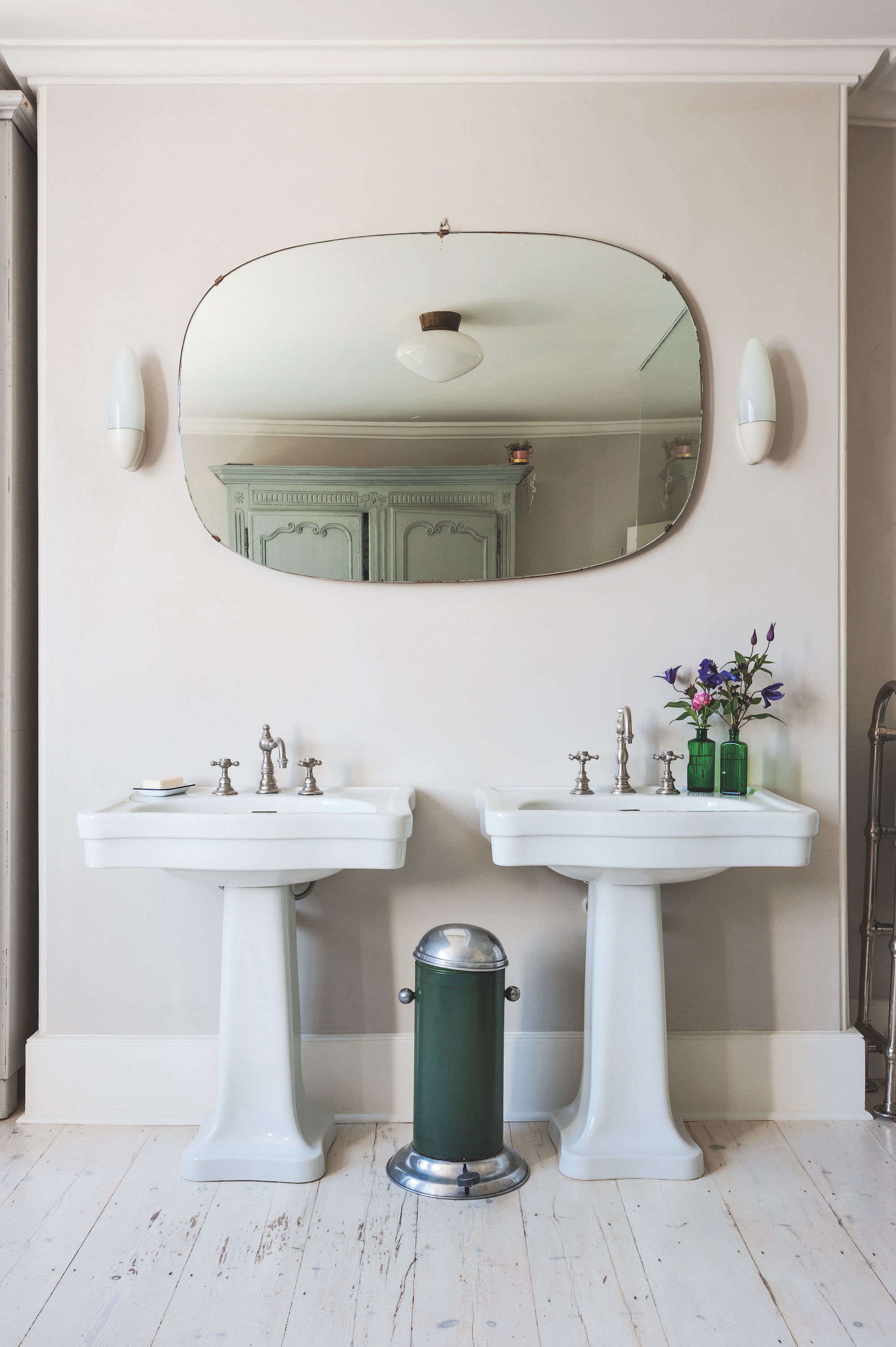 Inspirational dual pedestal sinks green trash can round mirror