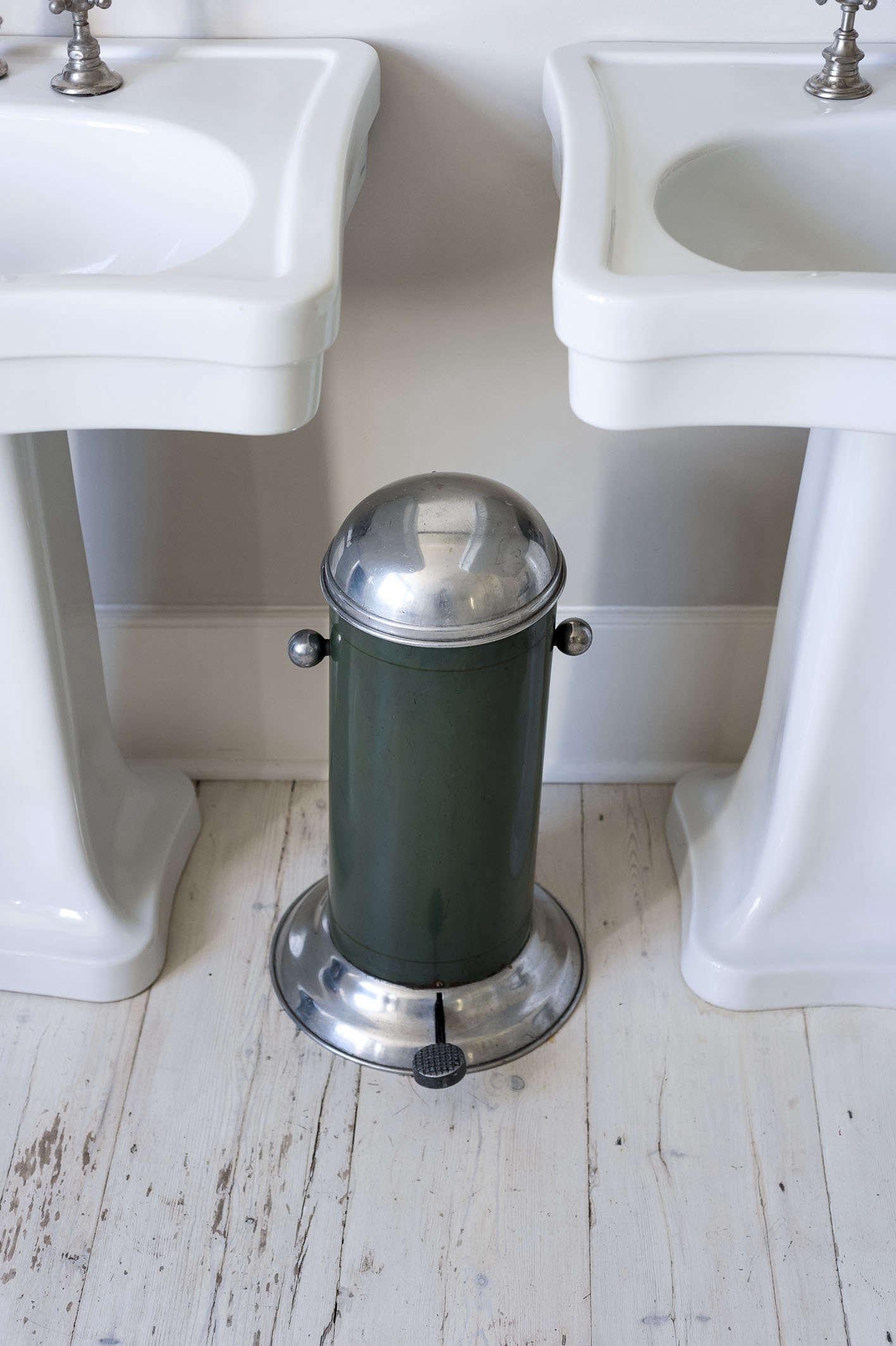 Vintage green vintage trash can bathroom pedestal sinks