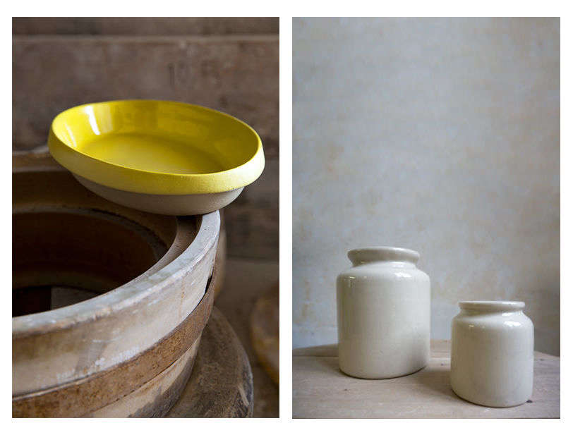Manufacture de Digoin, the oldest pottery studio in the Loire Valley, makes ceramic Frenchessentials in rich colors, like this yellow Oval Plate andsmall Mustard Jars. We also liketheir naturalTerra Cotta Oven Dish.
