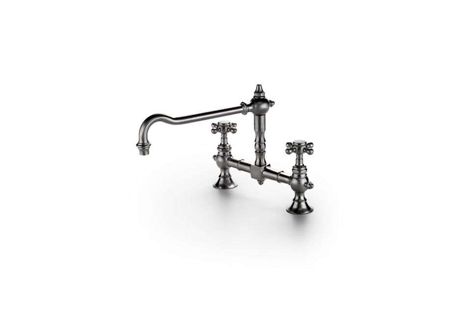 The Waterworks Julia Two-Hole Bridge Faucet is a re-creation of a 1920s French country faucet; $2,390 at Waterworks.