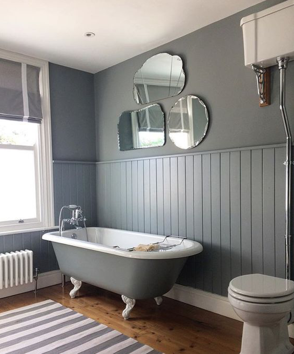 In thehome of the husband-and-wife teambehind UK housewares shop Hare & Wilde, a washable gray-striped rug makes for easy upkeep. Photograph courtesy of Hare & Wilde.