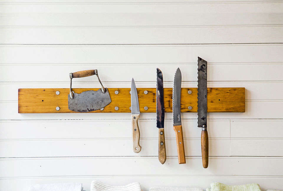 The Peg and Awl Knife Rack is made of wood salvaged from old church pipe organs; $90 to $src=