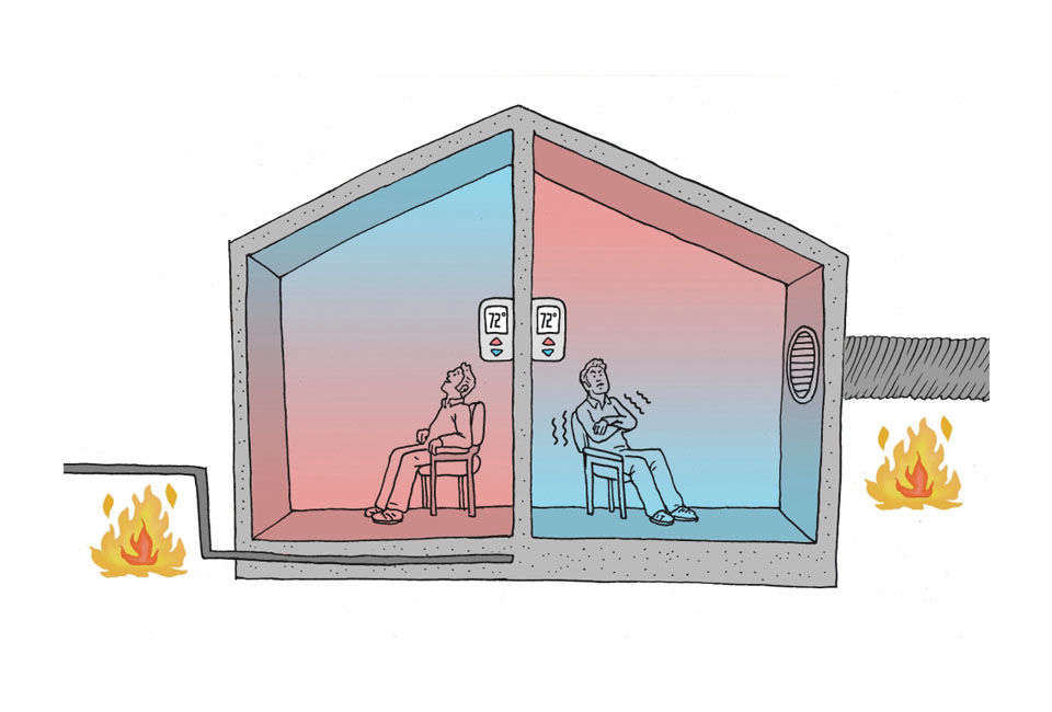 the diagram on the left illustrates the principle of radiant floor heating in which heated surfaces