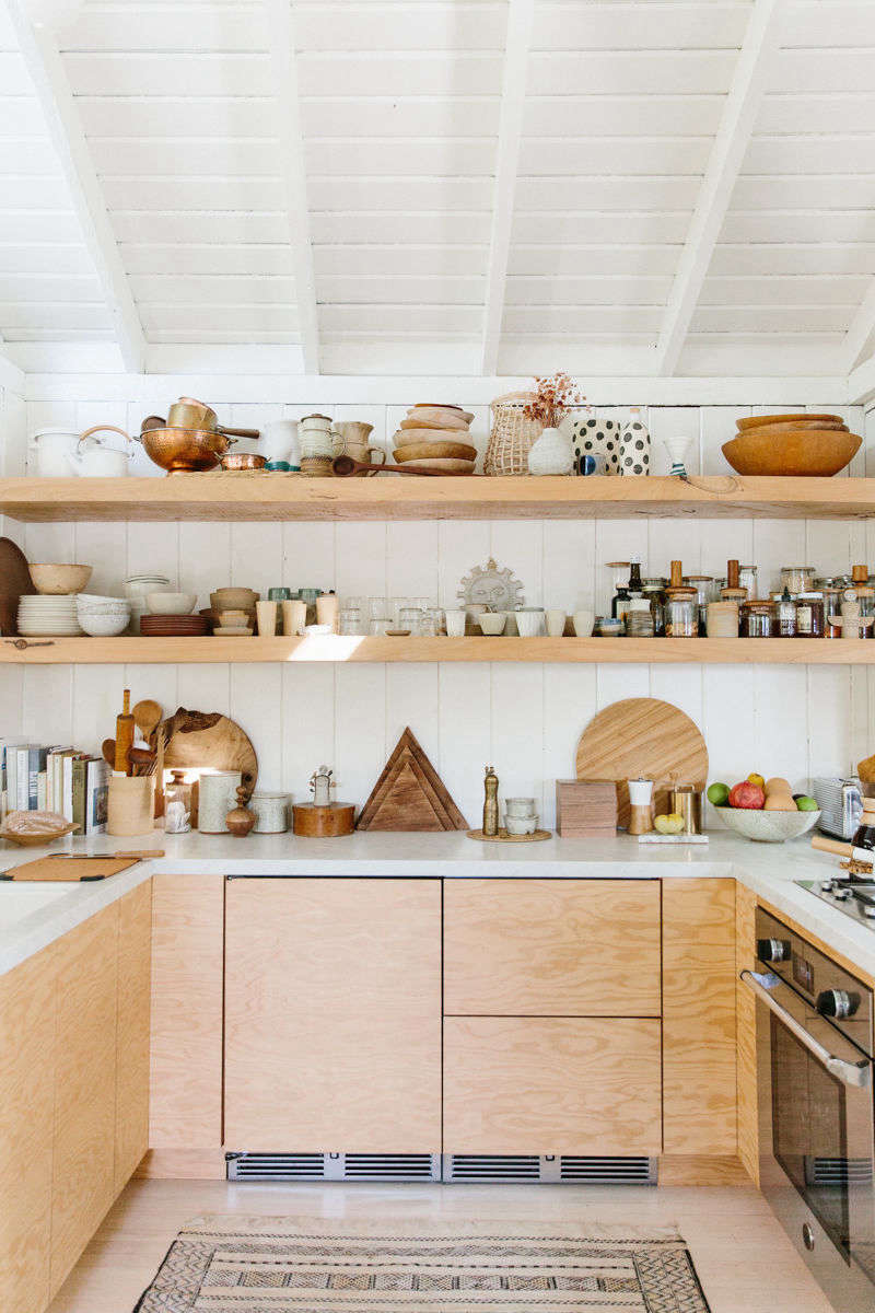 Plywood cabinetry in Serena Mitnik Miller's kitchen. See Kitchen of the Week: A Hip, Low-Key Kitchen in Topanga Canyon, Hidden Fridge Included. Photograph by Nicki Sebastian, courtesy of Rip & Tan.