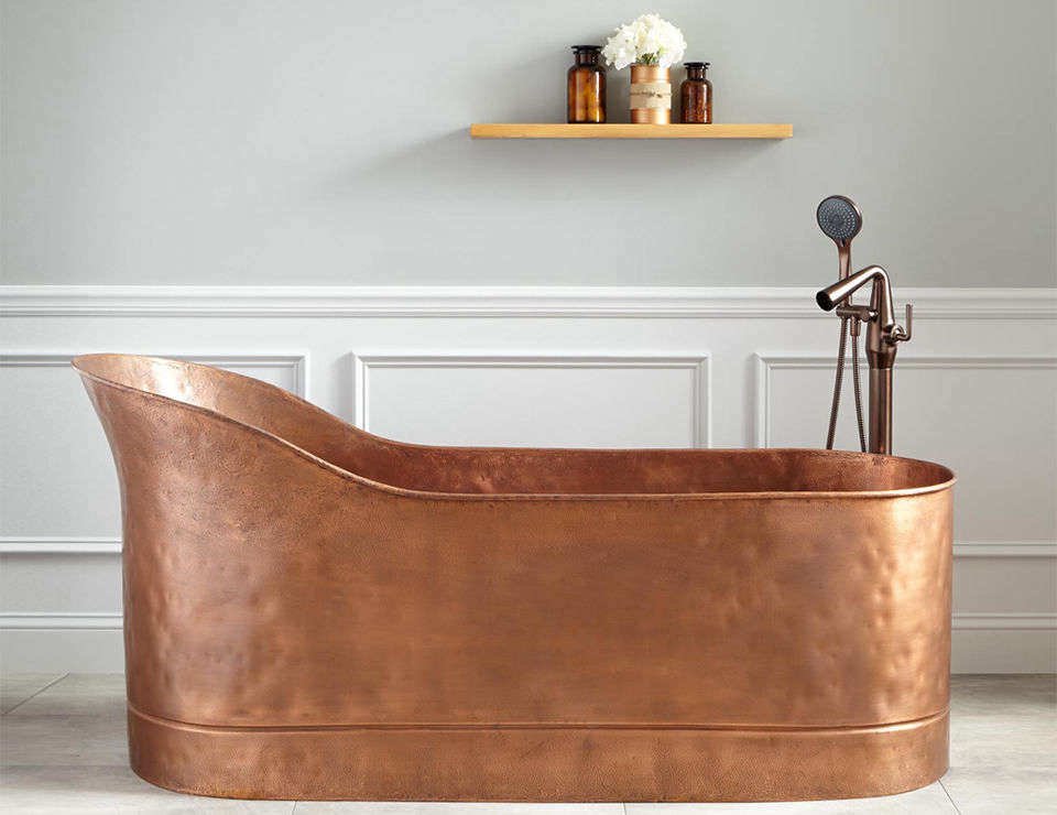 The Henrick 67 Inch Textured Copper Slipper Tub Has A Hammered Copper  Texture Inside And