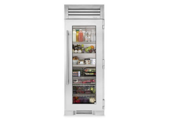True Residential 30 Inch Stainless Glass Column Refrigerator