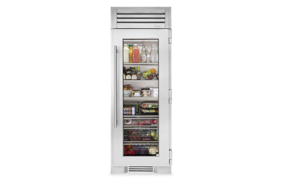 The narrow True Residential 30-Inch Stainless Glass Column Refrigerator has a glass front and is available through True dealers. For more, see  Easy Pieces: Glass Door Refrigerators.