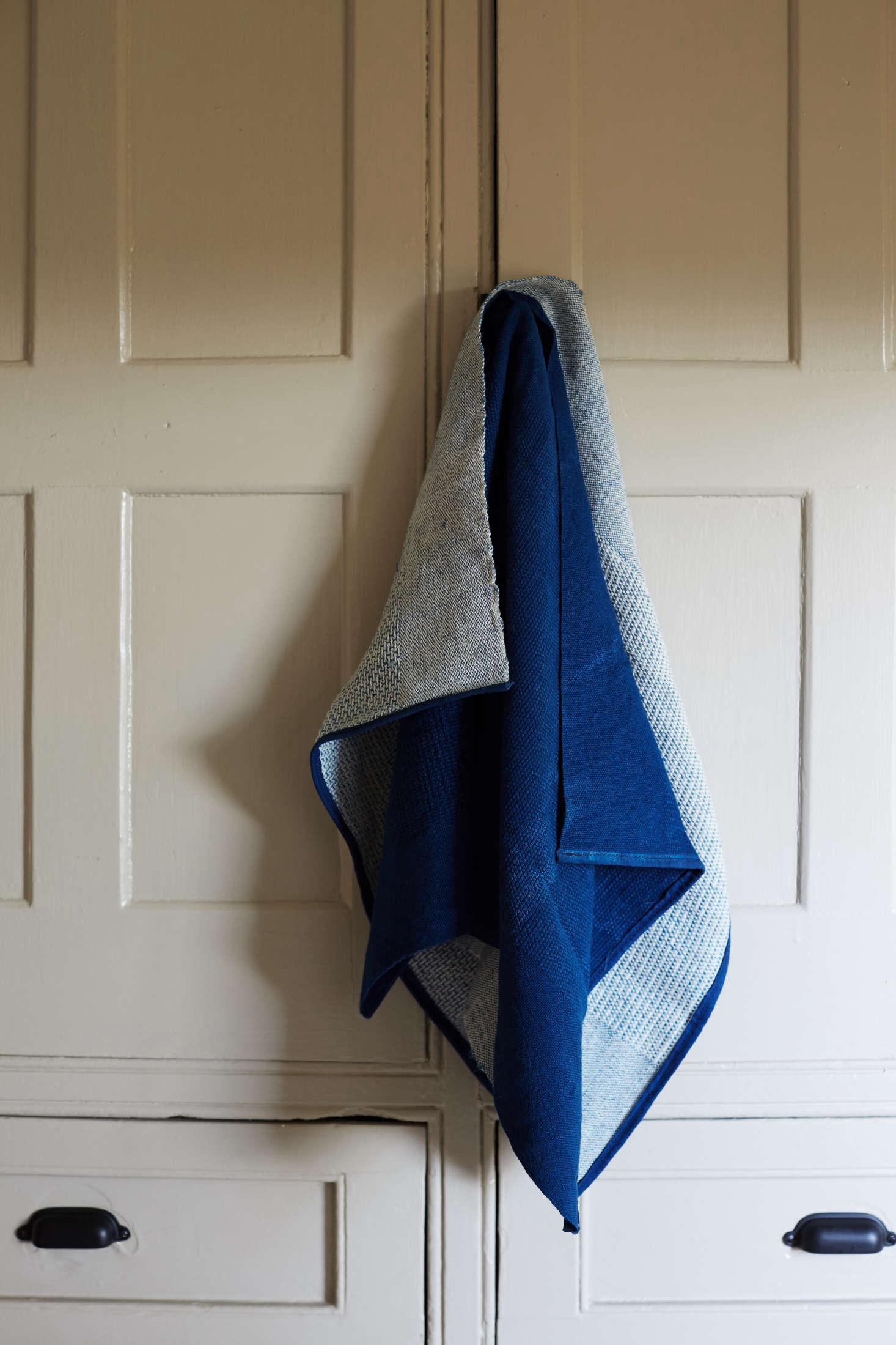 The reverse of Sin's indigo towel sports a deep blue hue.