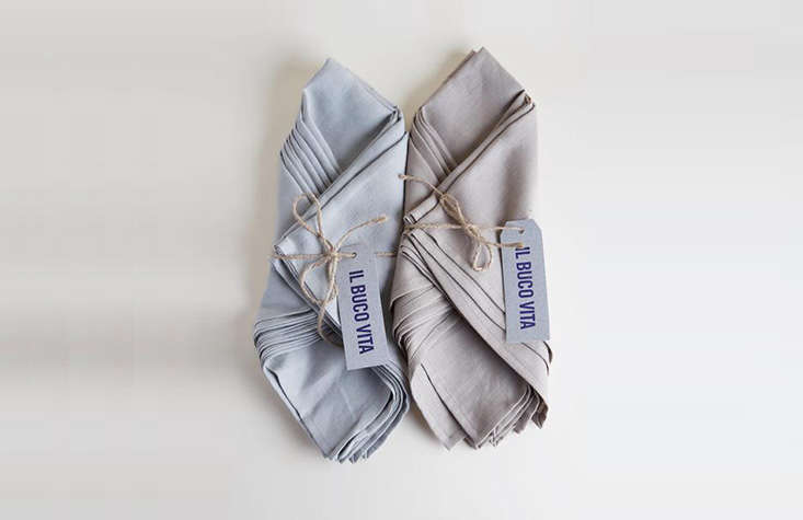 Panzano Rustica Napkins are cut and sewn in Tuscany of Italian linen; $40 for a bundle, tied with twine.
