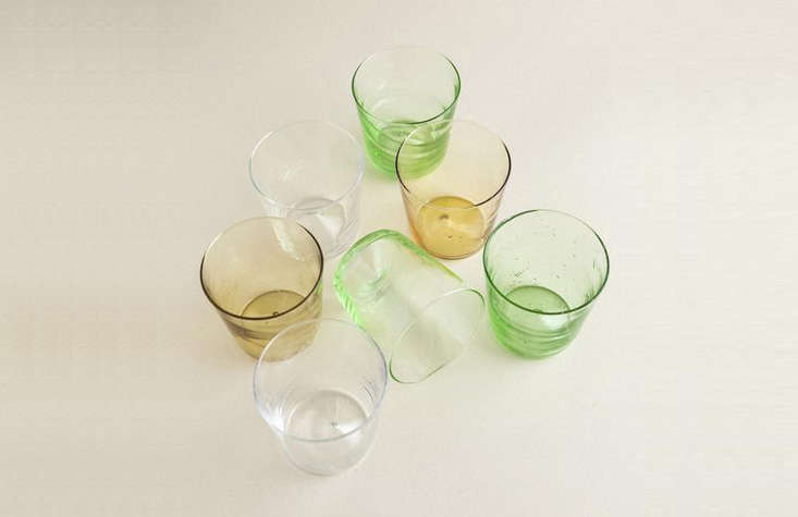 Pienza -Ounce Glass Tumblers in clear, green, and amber are mouth-blown by a brother-sister team in a Tuscan village; $36 each.