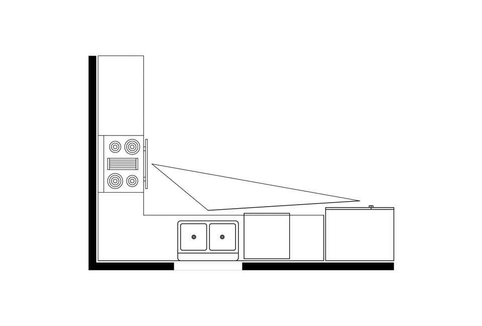 A diagram illustrates how the ergonomic kitchen work triangle (stove, refrigerator and sink) can work in an L-shaped kitchen. Diagram fromMomentum Construction.