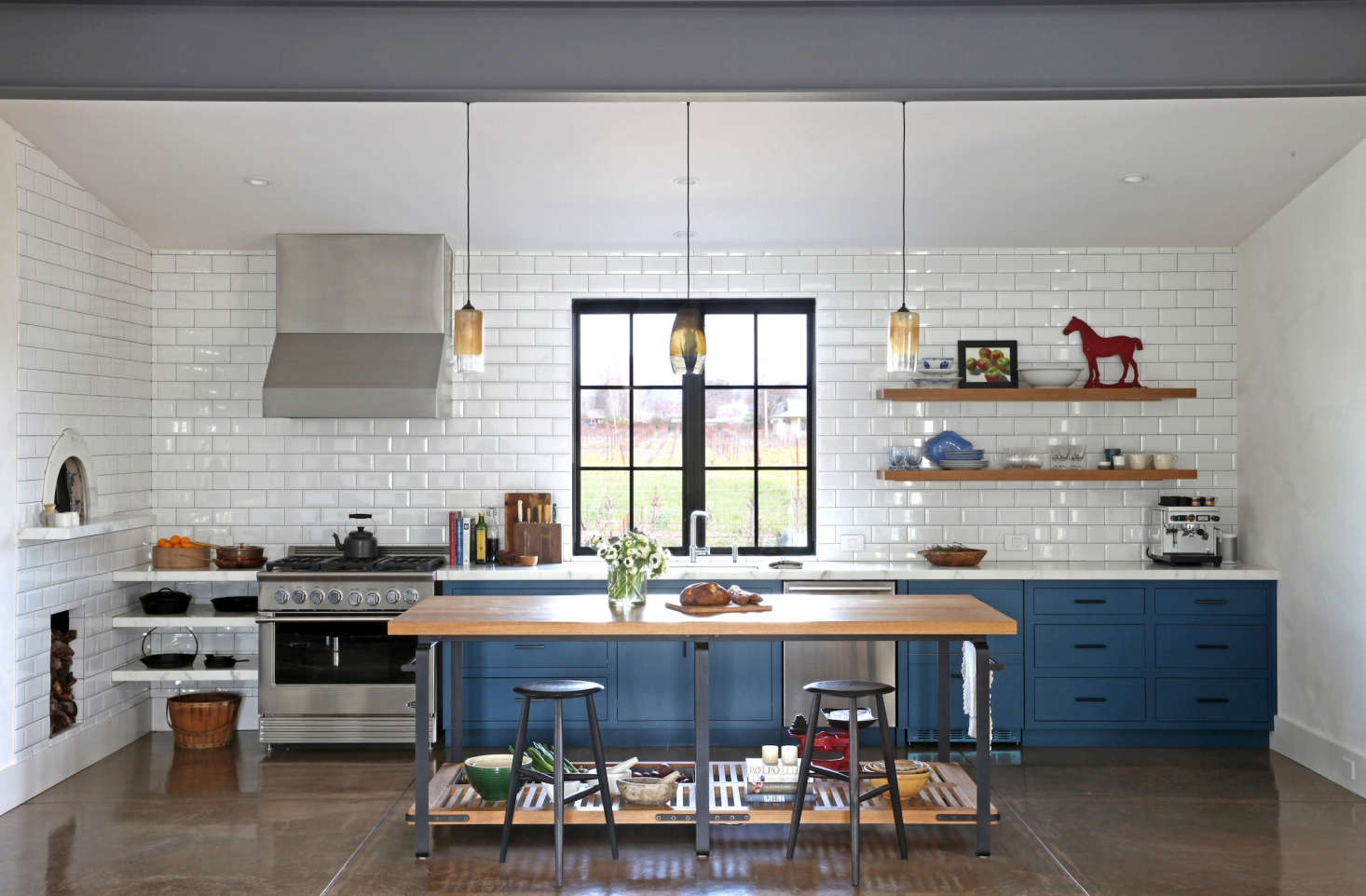 The White And Blue Kitchen Is Anchored With A Worktable From March, The San  Francisco