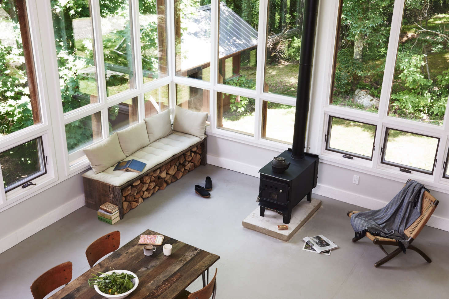 The open-plan living and dining room.
