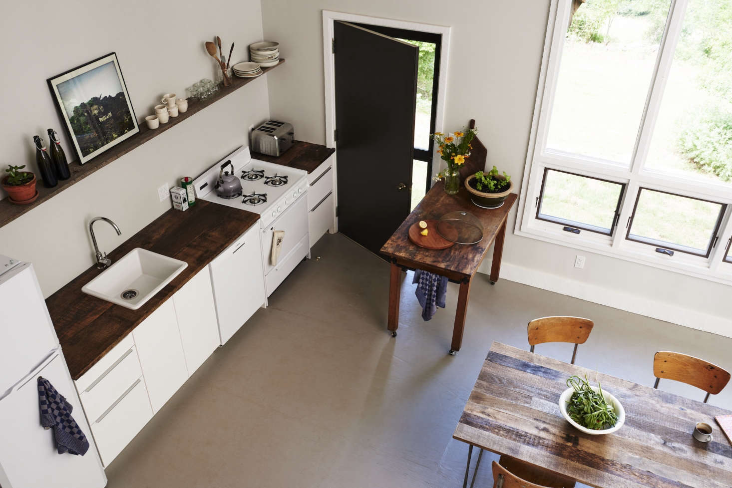 """A""""chopping table""""on castersis a movable kitchen workspace."""