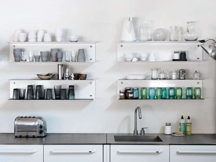 The integrated sink and pullout faucet are also Vipp designs, sold only as part of the kitchen, but many of the accessories, including the Vipp Shelves of white powder-coated steel, $9, and the one-hand Vipp Soap Dispenser, $9, are available à la carte.