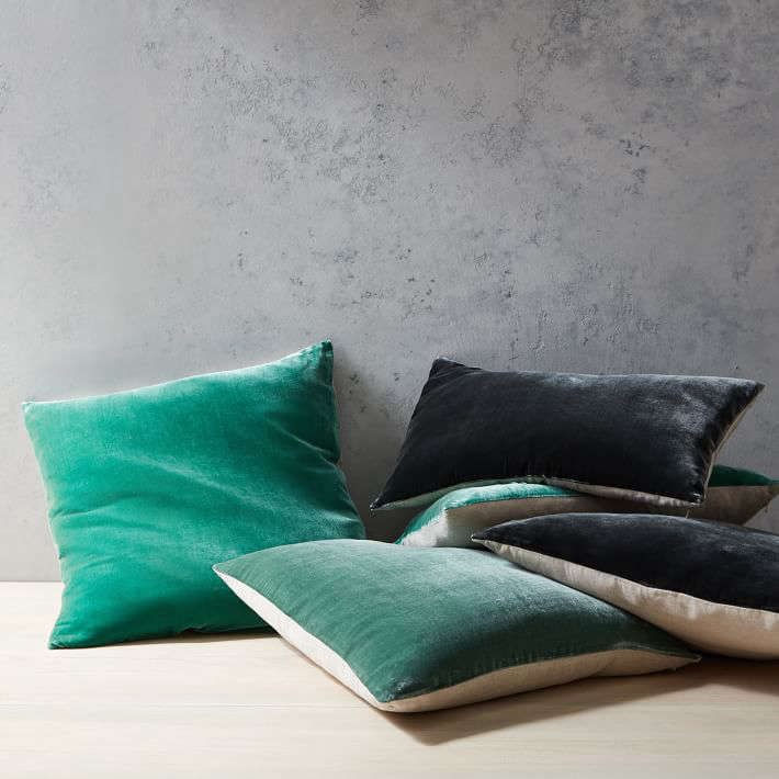 West Elm's Luxe Velvet Pillow Covers are made of viscose and silk velvet blend fronts and cotton-linen backs. The 12-by-21-inch sizes comes in six different colors ($31 each) and a 20-inch square size in 13 different colors ($39 each).