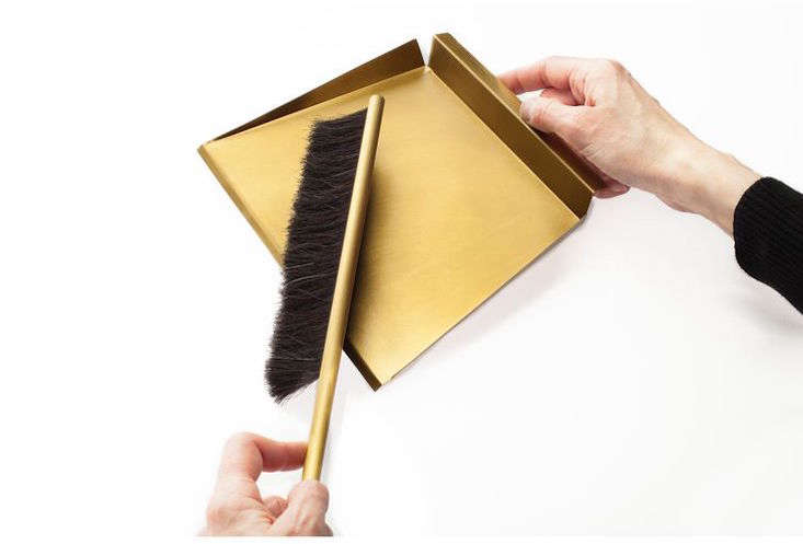 Made of brass and horsehair, the Sweep Dustpan and Brush by Gentner Design comes with a magnetic brass wall peg;$5 from Horne.
