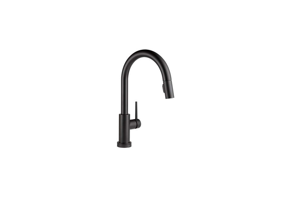 The faucet is the Delta Trinsic Single Handle Pull-Down Kitchen Faucet.