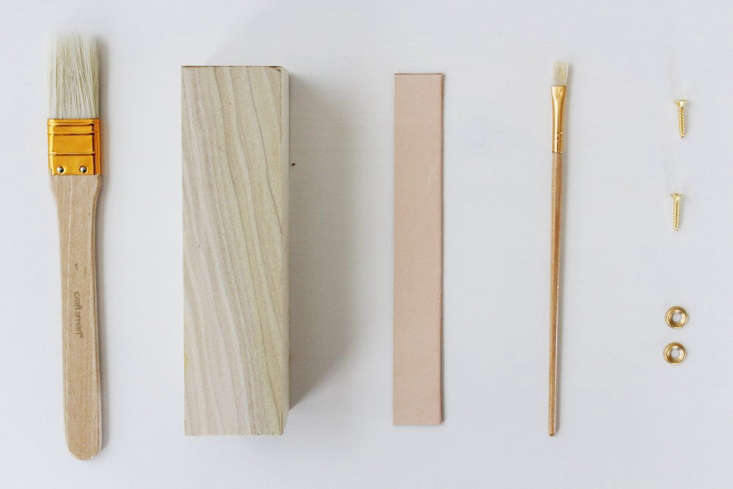 Diy a leather detailed wooden doorstop remodelista for Door stop idea