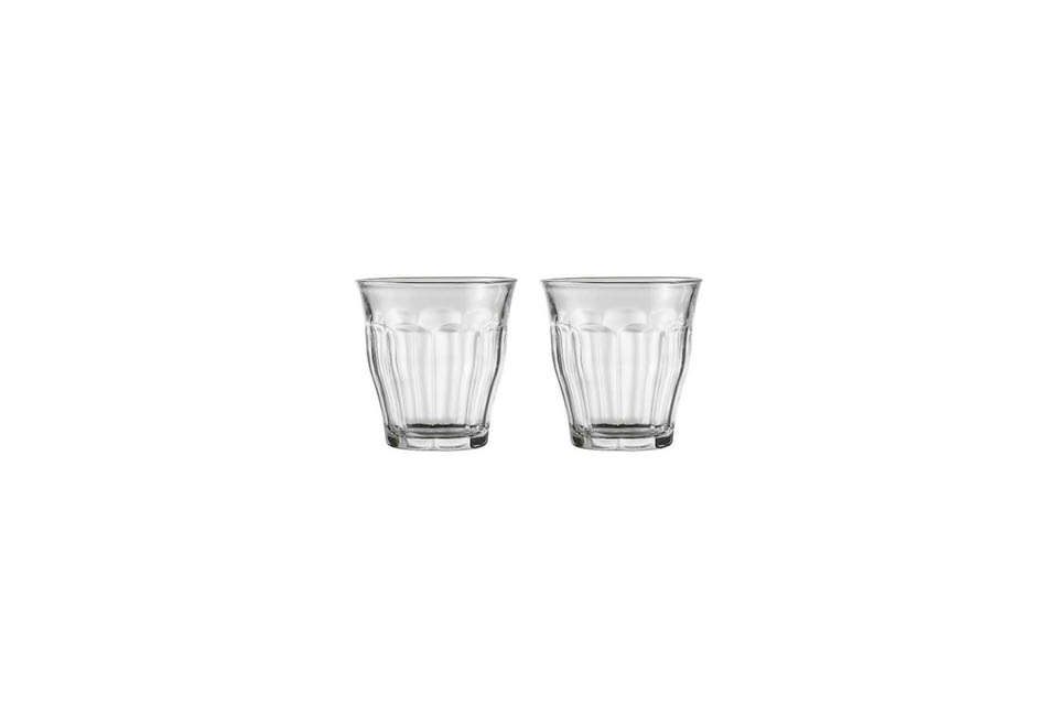 The Duralex Picardie Clear Glass Tumblers are $17.91 for the 4.25-ounce size on Amazon.