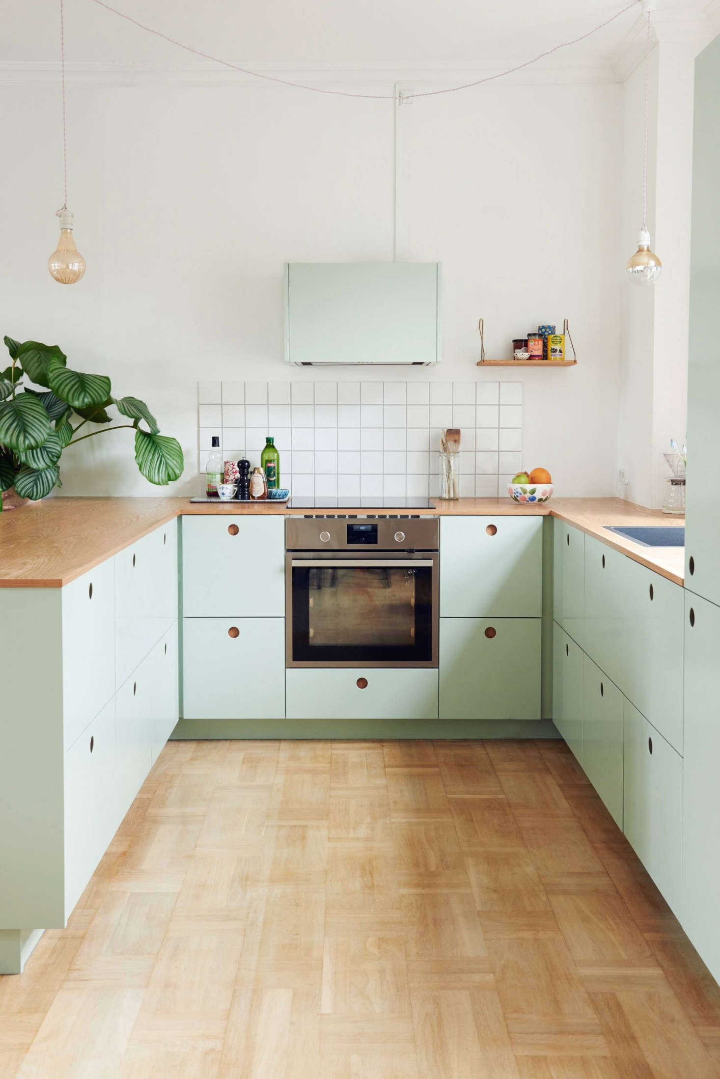 stylish ikea hack kitchen with mint green cabinet fronts by reform of denmark. Black Bedroom Furniture Sets. Home Design Ideas