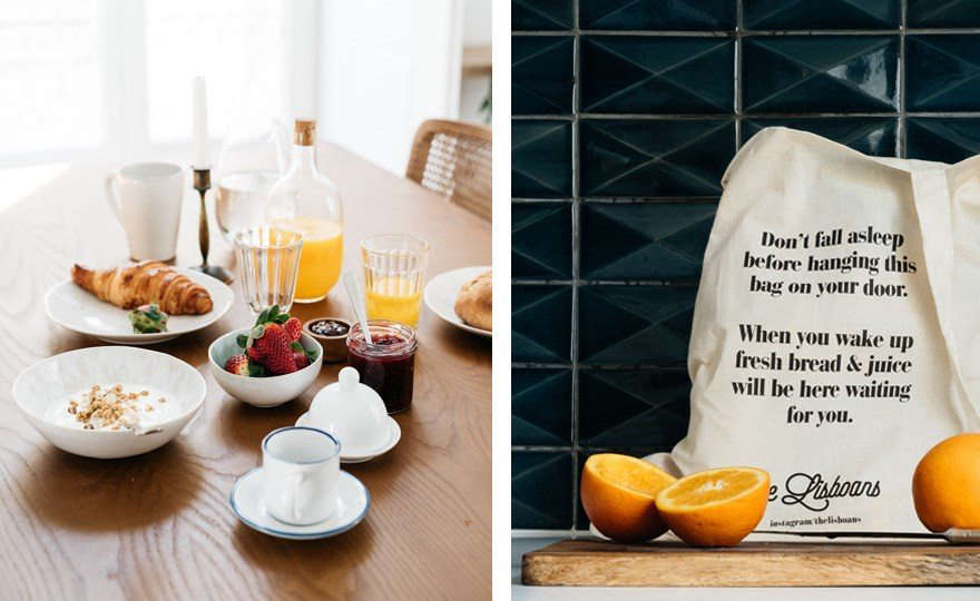 A charming feature at The Lisboans: Breakfast—fresh bread and juice—is delivered via a canvas market bag each morning.
