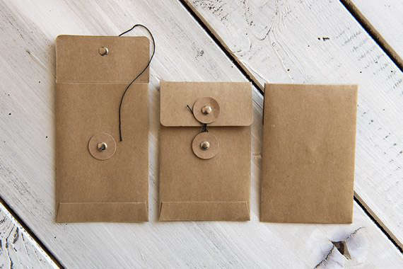 25 Brown Kraft Paper Seed Packets Cord Clasp Envelopes