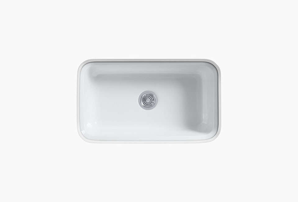 A Simple And Affordable Option In Cast Iron: Kohleru0027s Bakersfield White Cast  Iron Sink