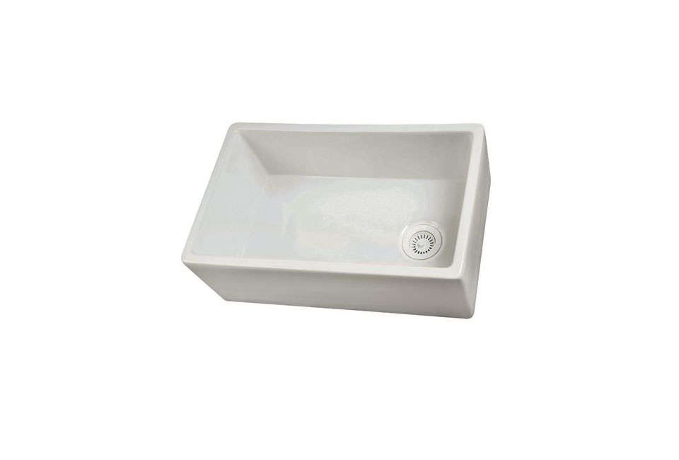 Barclay's Fireclay White Single Bowl Farmer Sink with an offset drain; $983.20 at Home Click.