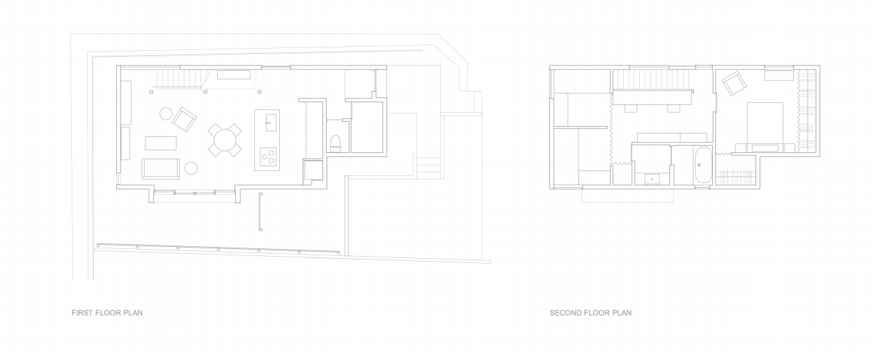 Theground floor is open plan; curtained dividers allow for flexible living on the second story, where the master bedroom and bath are the only spaces with doors.