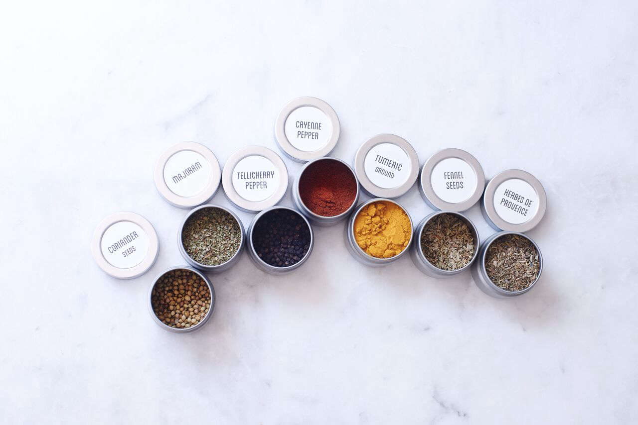 Blisshaus offers five different Spice Kits, ranging from the Core Spices kit (oregano, thyme, cumin, and so on); $55 to the Near & Far Eastern Spice kit. The containers are sized to accommodate the contents of a supermarket spice jar.