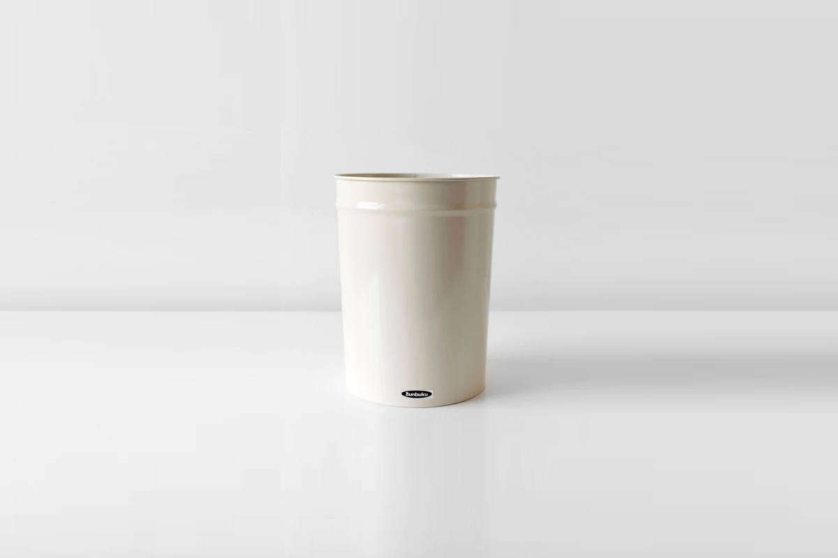 The enameled steelSmall Bunbuko Waste Basket in white is $34 from Brooklyn-based Salter House.