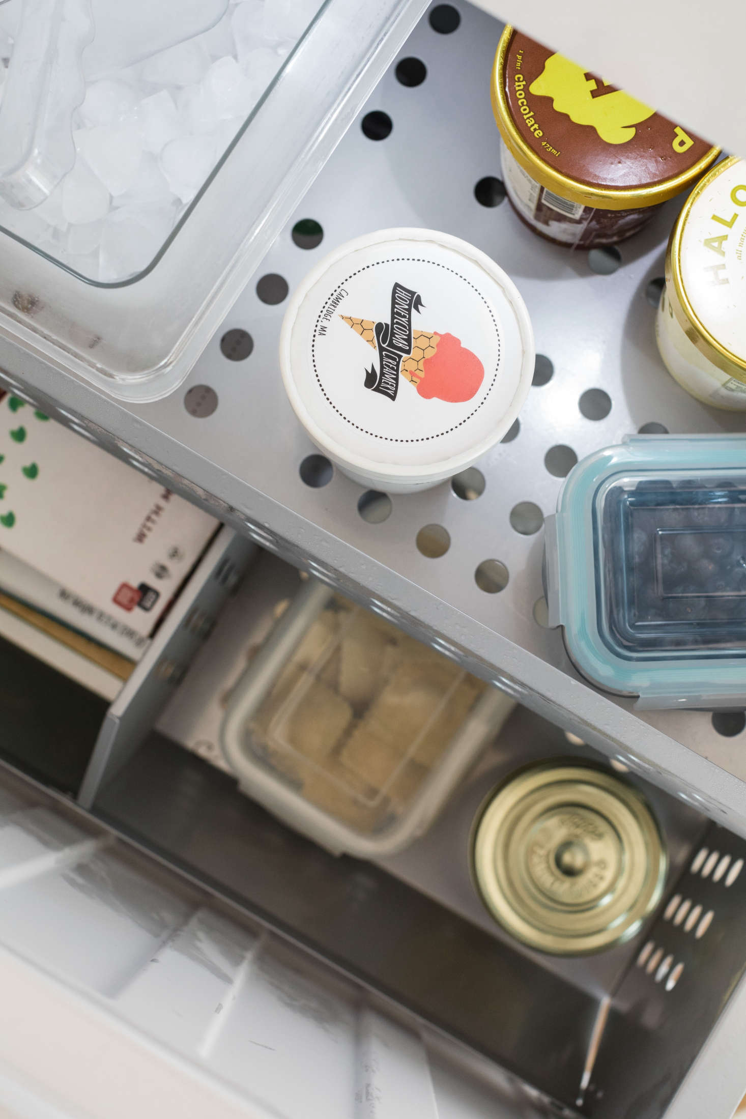 The Bosch freezer compressor is located on the bottom of the fridge, concealed by the freezer drawers—making freezer items more easily accessible.