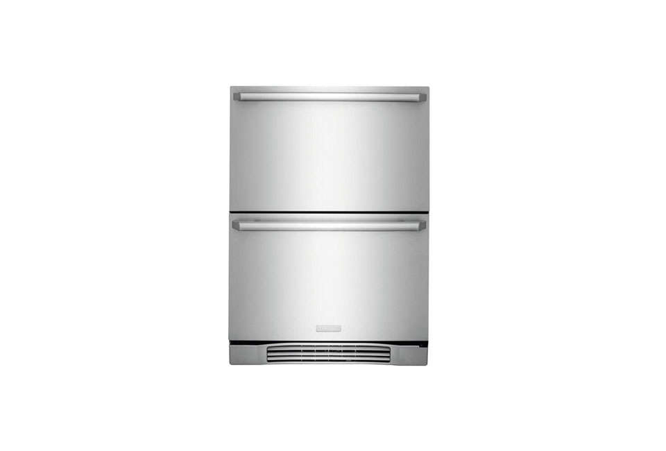 A pair of Electrolux 24-Inch Refrigerator Drawers, tall enough to hold nine-inch bottles and wide enough for serving trays, is $3,099. Compact refrigerator drawers are also being used in bathrooms to store medications and beauty products.