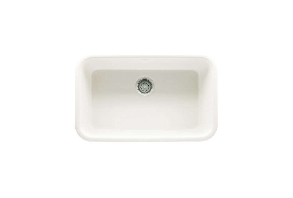 Franke's Oak110 Fireclay Undermount Single Basin Sink features rounded corners; $1,101.80 in white at eFaucets.