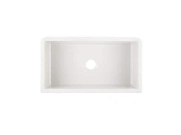 Ikon White Single Basin Granite Apron Front Farmhouse Kitchen Sink