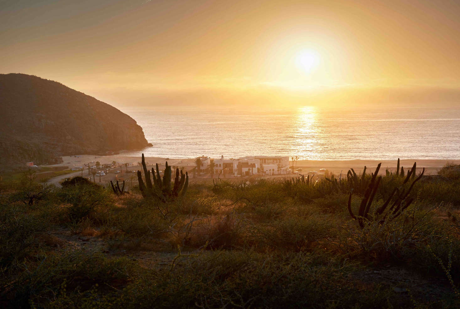The hotel is perched on the beach in Todos Santos, Baja California Sur.
