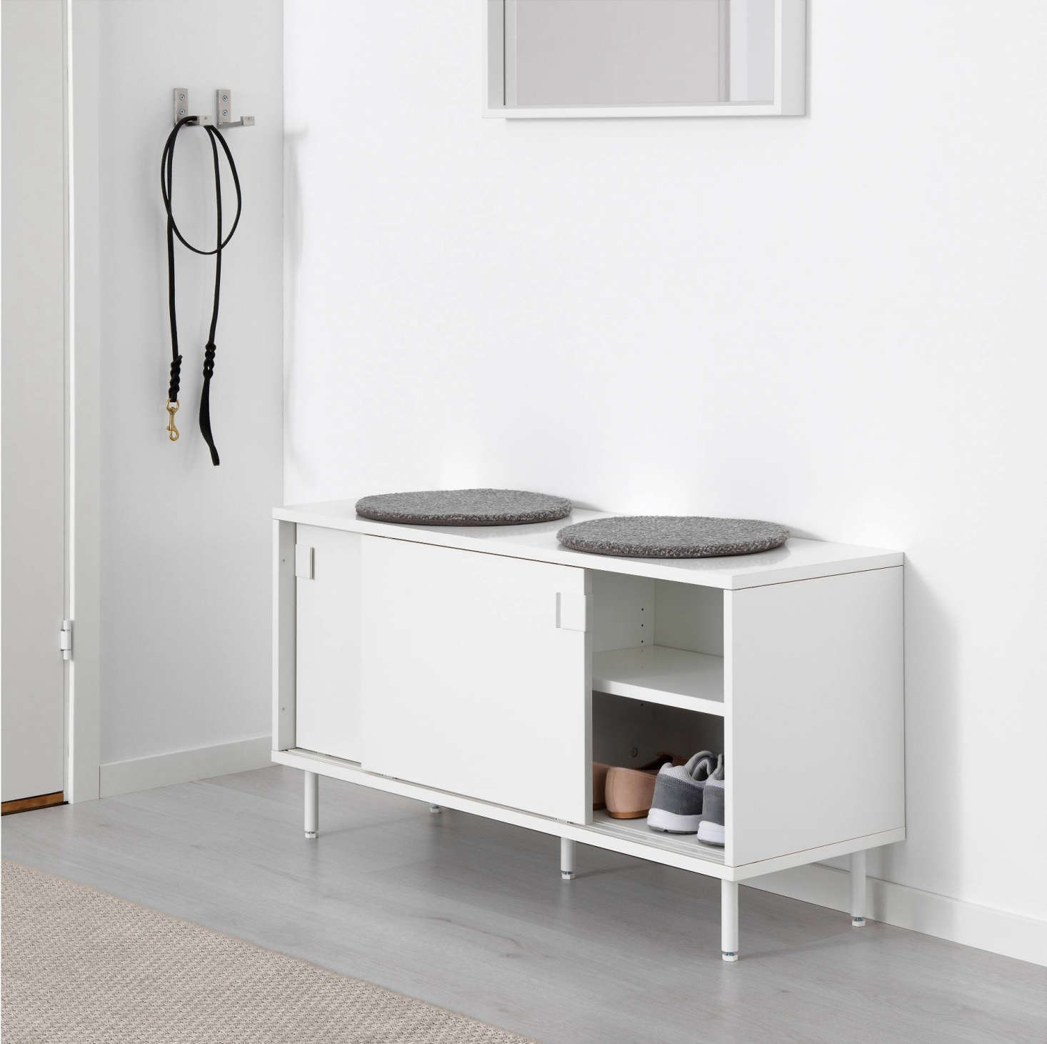The Mackapär Bench With Storage Compartments Is A Bench With Sliding Doors  For Concealing Shoes And