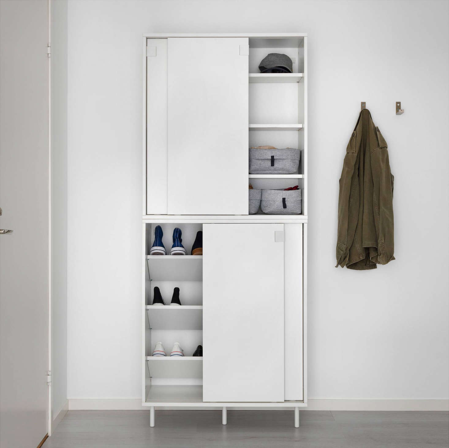 The cabinets can be stacked two high for additional storage. Interior shelves can be placed & Ikea Storage Solutions for Minimalists on a Budget - Remodelista