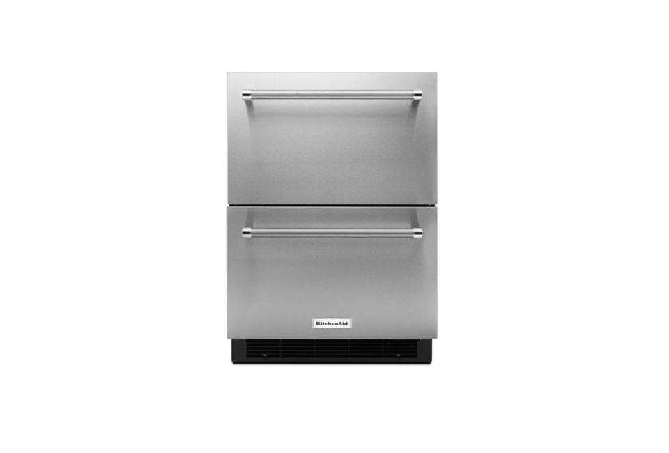 Under-counter refrigerator drawers incorporate well into kitchen islands. The KitchenAid 24-Inch Stainless Steel Double Refrigerator Drawer is $2,949.