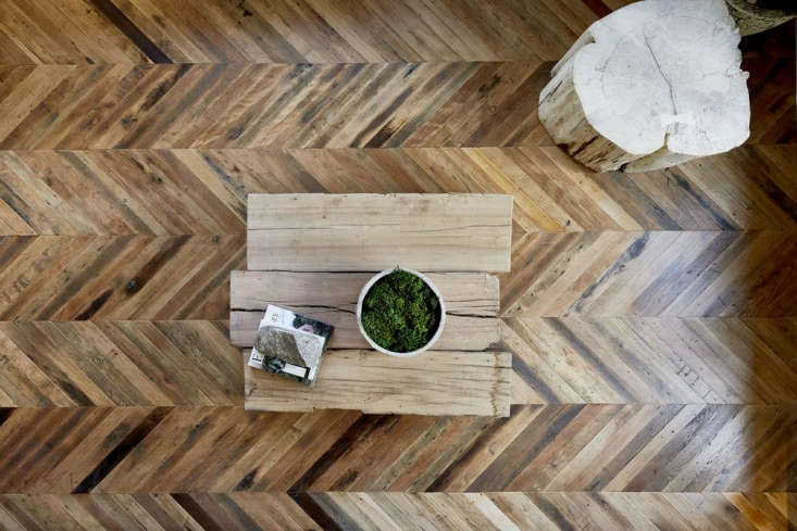 reclaimed chevron wood flooring at 1 hotel central park
