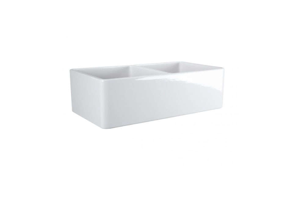 Aove: The Reinhard Double Bowl Fireclay Farmhouse Sink is $819.95 at Signature Hardware.